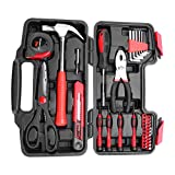 Estink Homeowners Tools,38 Piece Multifunctional DIY Household Home Hand Tool Set Kit Pliers Scissors with Plastic Tool box Hammer Storage Case