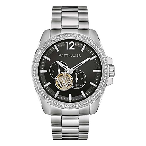 Wittnauer Men's Steel Bracelet & Case Automatic Black Dial Analog Watch - Mens Watches Wittnauer