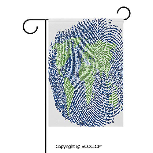 SCOCICI Double Sided Washable Customized Unique 28x40(in) Garden Flag Map of The World Fingerprint Style Continents Asia Europe Africa America,Navy Blue Green,Flag Pole NOT Included (Best Navy In Asia)