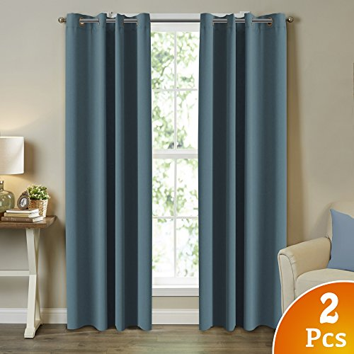 TURQUOIZE Solid Blackout Drapes, Citadel/ Blue Grey, Themal Insulated, Grommet/Eyelet Top, Nursery & Infant Care Curtains Each Panel 52