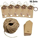 50 Sets Wedding Favors Key Bottle Opener with Escort Tag Card, Twine and Key Rings, Vantage Style For Sale