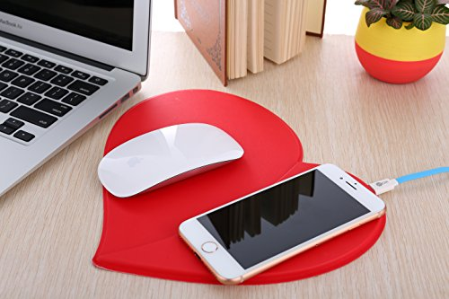 Fast Wireless Charger, Universal Qi Wireless Charger Pad(quick charging)for Iphone 8 & Plus, Iphone X , Samsung Galaxy Note 5/8,Nexus 5/6/7 And All Qi-Enabled Devices (Red) Photo #10