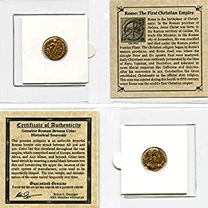 306 IT – 410 AD First Christian Empire ROMAN BRONZE COIN Genuine Ancient Antique from 306-410 AD – Genuine Roman Bronze Coin – Historical Souvenir with Certificate of Authenticity Bronze Good