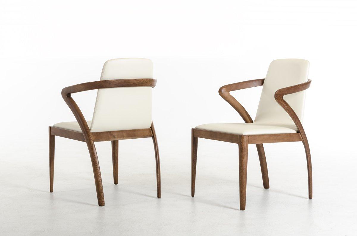 Amazon.com: modrest Falcon moderno Nogal y crema silla de ...