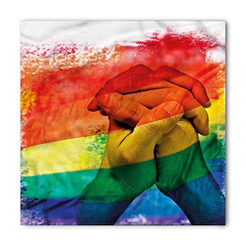 Ambesonne Unisex Bandana, Pride Gay Couple Holding Hands, White Rainbow