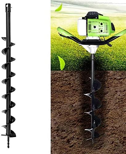 Auger Drill Bit For Petrol Post Hole Digger Garden Tool 40/60/100mm x 800mm Earth Auger Drill Bit Fence Borer (Size (US) : 60mm)