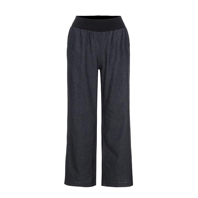 1c3d3a32eca1 RAISINGTOP Yoga Pants Jeans for Women Casual High Waist Elasticity Denim  Wide Leg Palazzo Trousers Loose