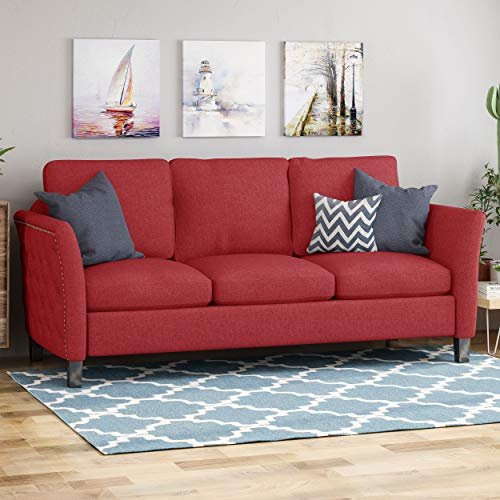 Christopher Knight Home Betty Traditional Fabric Sofa, Red, Dark Brown