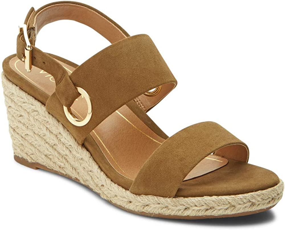 Ladies Espadrille Sandals with Concealed Orthotic Arch Support Vionic Womens Tulum Vero Wedge