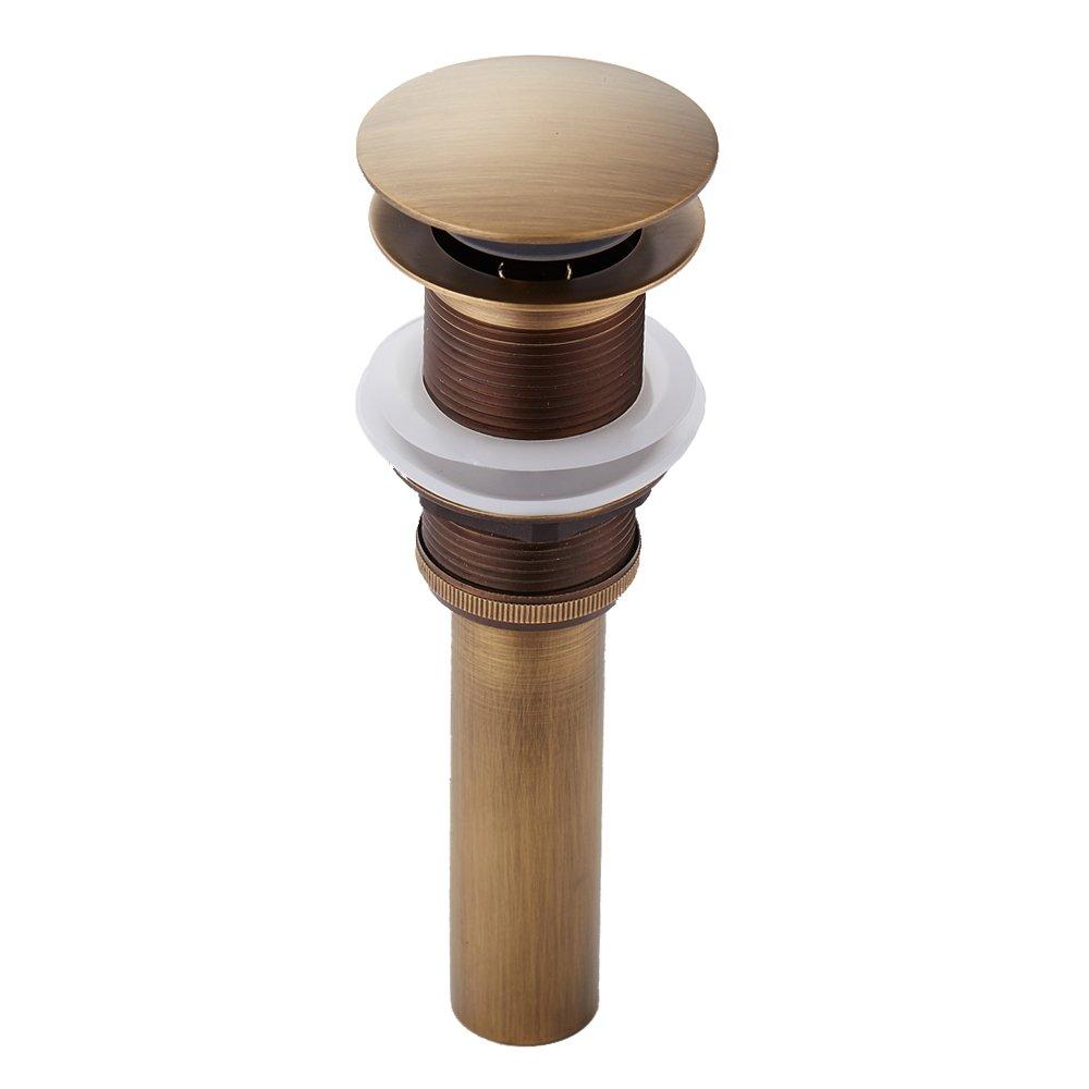 Doyime Retro Einfach Design alle Messing Deko Pop Up Ventil Ablaufgarnitur Push Open Technik Waschbecken Ablauf mit /Überlauf