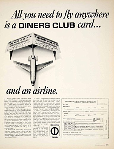 1966 Ad Diners Club Charge Card Credit Membership Application Form Payment YFM2 - Original Print Ad from PeriodPaper LLC-Collectible Original Print Archive