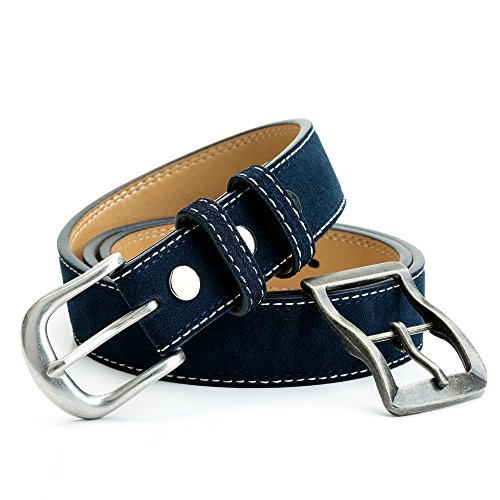 Suede Leather Belt with Two Inter Change-able 1-3/8