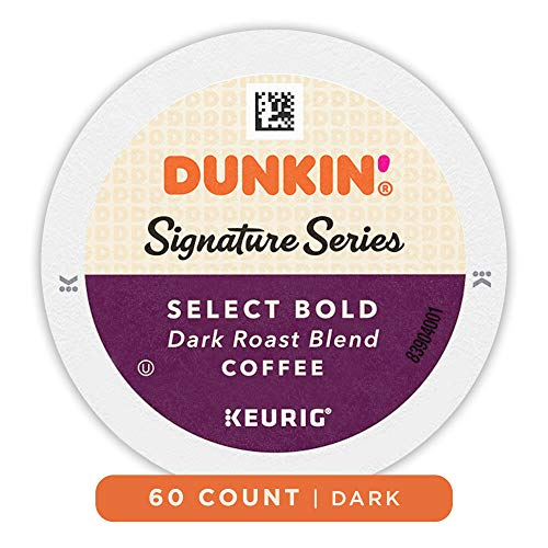 Dunkin Donuts Coffee, Signature Series Select Bold Blend Dark Roast Coffee, K Cup Pods for Keurig Coffee Makers, 60 Count
