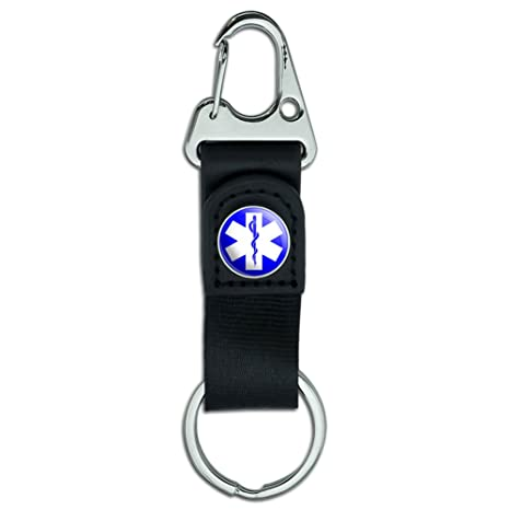 Belt Clip On Carabiner Leather Keychain Fabric Key Ring Symbols - Star of Life - EMT RN MD