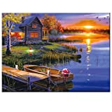 5D Diamond Painting kit DIY Crafts Set Paint with Diamonds Full Drill Mosaic Art Pictures 3D Round Crystal Rhinestone Cross Stitch Wood Framed Counted Embroidery for Home Decoration 12'' by 16''