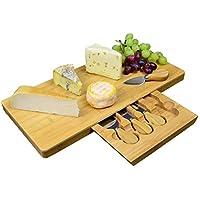 Tabla de queso extragrande de bambú con compartimento