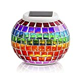 Pandawill Mosaic Glass Solar Powered Table Light,Waterproof Glass Ball Led Light With Color Changing For Outdoor Lawn,Yard,Festival Decorations …