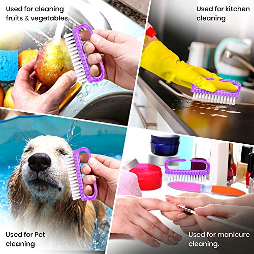 Sstyle Handle Grip Nail brushes For Cleaning fingernail Scrub brush For Pedicure Manicure Hand brush for Men and Women (5 pcs Pack)