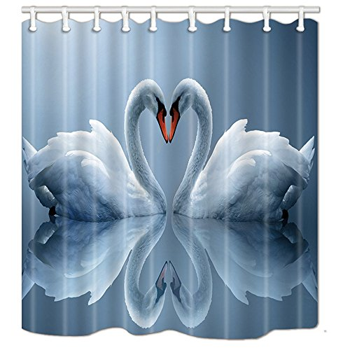 (NYMB White Swans Couple Heart Shower Curtains, Love Animals Polyester Fabric Valentine's Day Shower Curtain Set Fantastic Decorations Bath Curtain,)