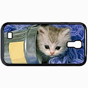 Fashion Unique Design Protective Cellphone Back Cover Case For Samsung GalaxyS4 Case Cat Bank Kitten Playful Black