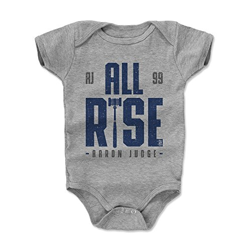 500 LEVEL Aaron Judge Baby Clothes, Onesie, Creeper, Bodysuit 3-6 Months Heather Gray - New York Baseball Baby Clothes - Aaron Judge Rise B