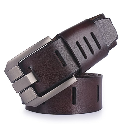 Best Annie cowhide genuine leather belts for men brand male pin buckle jeans cowboy Mens Belt Luxury Designer Leather belt men COFFEE 100cm