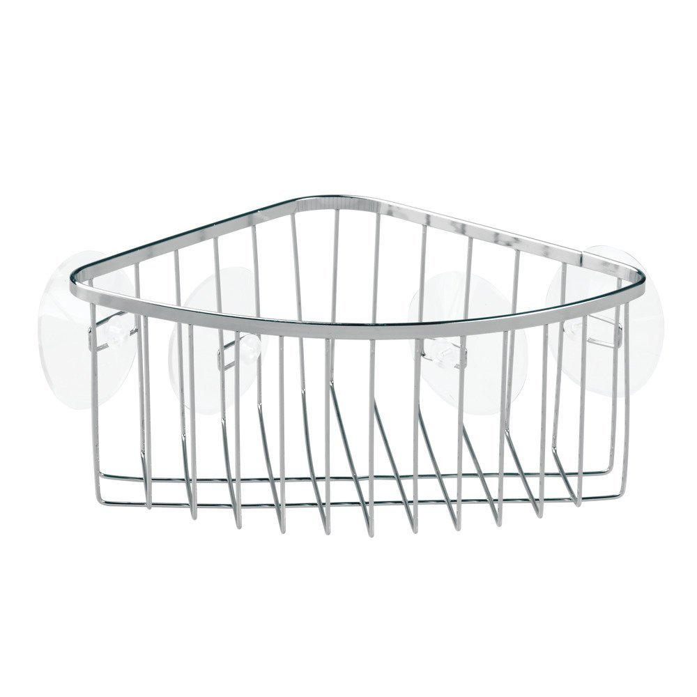 Amazon.com: InterDesign Suction Bathroom Shower Caddy Corner Basket ...