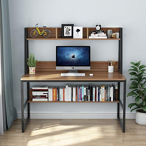 Tribesigns Computer Desk with Hutch and Bookshelf, 47'' Home Office Desk with Space Saving Design for Small Spaces, Retro Brown by Tribesigns (Image #3)