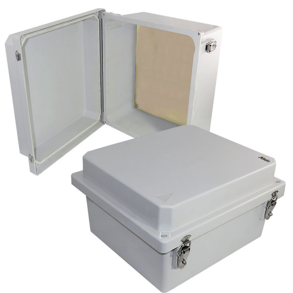 Altelix 14x12x8 Inch FRP Fiberglass NEMA 4X Box Weatherproof Enclosure with Aluminum Equipment Mounting Plate, Hinged Lid & Stainless Steel Latches