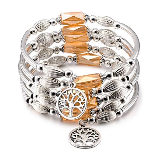 - CAT EYE JEWELS Wrap Bangle Bracelet Champagne Crystal Tree of Life Charm Boho Jewelry B002