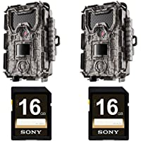 Bushnell 24MP Trophy Cam HD No Glow Trail Camera with Color Viewer, Camo (2-Pack), with two 16 GB Memory Cards