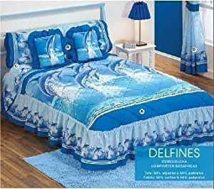 Hot Seller Blue 'Delfines' Decorative Complete Bedspread and Sheet Set (Queen) by Kitty4u