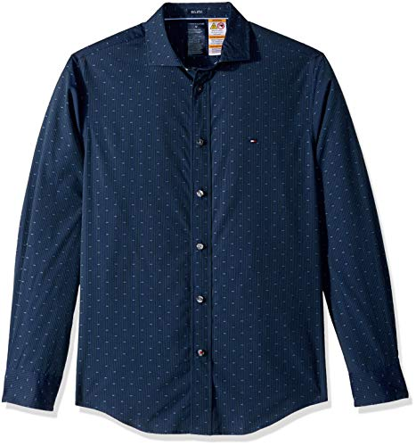 - Tommy Hilfiger Men's Adaptive Magnetic Long Sleeve Button Down Shirt Custom Fit, Ponderosa Pine, Small