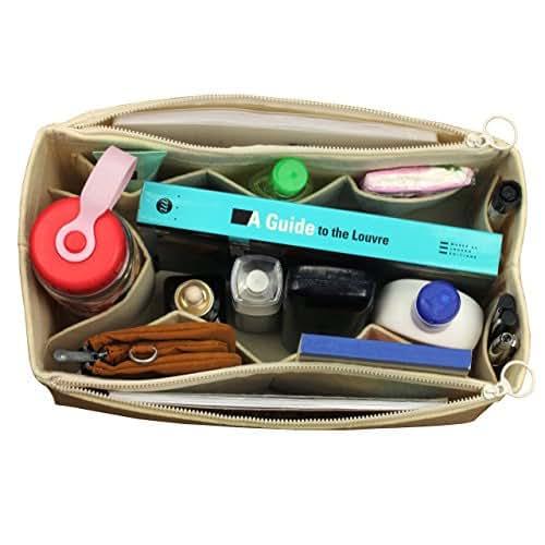 [Fits Artsy MM, Beige] Felt Organizer (with Double Zipper Bag), Bag in Bag, Wool Purse Insert, Customized Tote Organize, Cosmetic Makeup Diaper Handbag