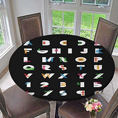 Round Polyester Tablecloth Table Cover Color alphabetic Fonts and Numbers Vector eps Illustrator for Most Home Decor 47.5