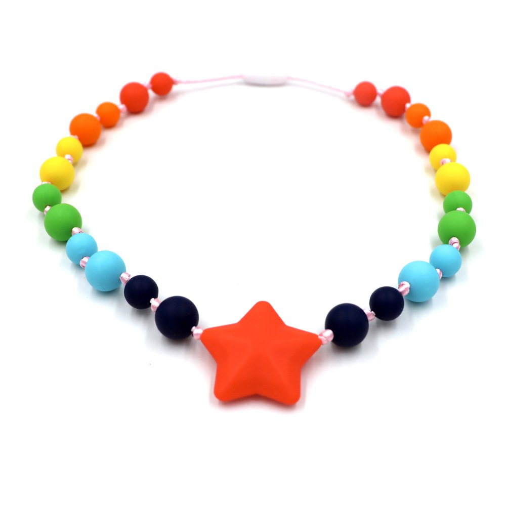 Chew Necklace - Sensory Oral Motor Aide Chewy Necklace - Chewable Jewelry for Sensory-Focused Kids with Autism or Special Needs - Calms Kids and Reduces Biting/Chewing - Star Teether Toys (Rainbow)
