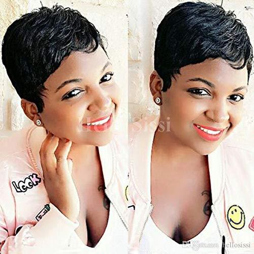 HOTKIS Natural Hair Short Pixie Cut Wigs Women Human Hair Short Black Boy Cut Wigs for Black Women (Pixie Cut Bob-1B#)
