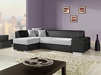 VERANI STANDARD Moderne Grand canapé d\'angle Lit Rangement en Noir ...