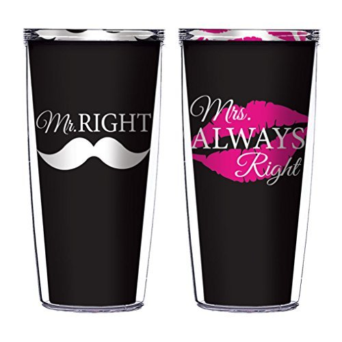 Mr. Right and Mrs. Always Right Set of 2 Traveler 16 Oz Tumbler Cups - Mr Right Mrs Always Right Tumbler