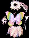 5 Piece Fairy Princess Wing & Halo Girl's Costume - Light Rainbow Wings, Tutu, Hair-tie, Halo & Wand