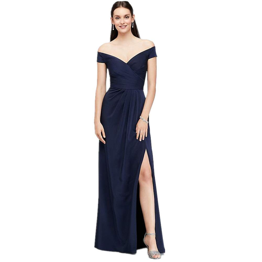 Dark bluee Womens Party Dress Women's VNeck Strapless TightFitting Side Slit Open Formal Evening Dress Women's Long Dress Evening Dress (color   Dark bluee, Size   XXL)