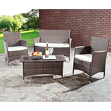 Safavieh Home Collection Briana Brown Outdoor Living Wicker Patio Set With  Beige Cushions, 4