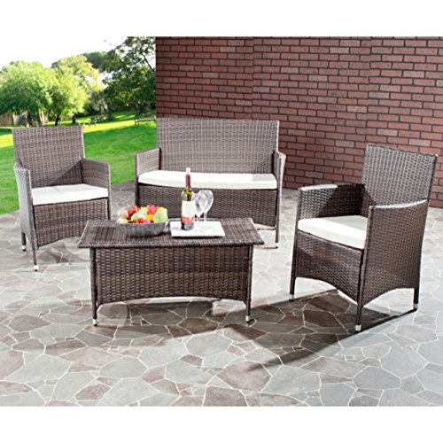 Safavieh Home Collection Briana Brown Outdoor Living Wicker Patio Set with Beige Cushions, 4-Piece