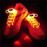 Welsun Red LED Luminous Shoelaces 80cm Glow Shoelaces LED Sport Shoe Laces Glow Stick Flashing Neon Luminous Laces 1 Pair