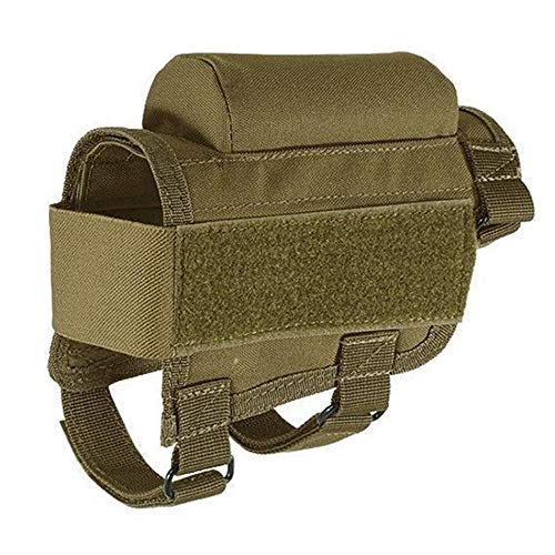 (Tactical Buttstock Shell Holder Cheek Rest Ammo Shell Pouch Bag Hunting Shooting (Brown))