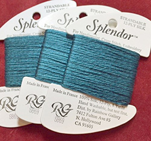 (Splendor Silk Thread-Color S869-DARK Green Aqua-1 Card in This Offer-Total 3 Cards Available)