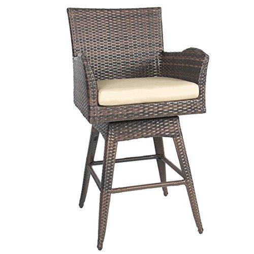 Outdoor Patio Furniture All-Weather Brown PE Wicker Swivel Bar Stool w/ Cushion (Pvc Pipe Outdoor Furniture Cushions)