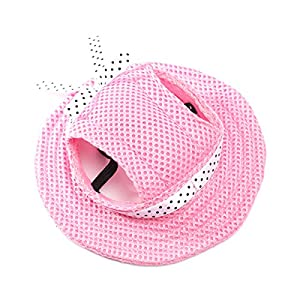 UEETEK Pet Dog Sunbonnet Mesh Porous Sun Cap Hat with Ear Holes for Small Dogs - Size S (Pink)