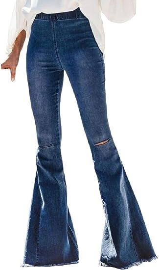 WAWAYA Womens Stretch Classic Knee Hole Bell Bottoms High Waist Denim Pants