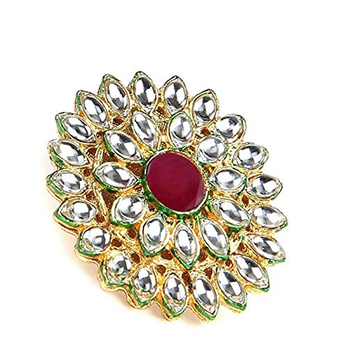 Yellow Chimes Traditional Ethnic Kundan Studded Gold Plated Cocktail Wedding Kundan Rings for Women & Girls